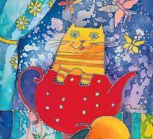 Cat in Red Teapot by DinaArt