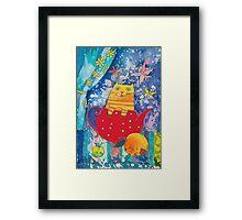 Cat in Red Teapot Framed Print