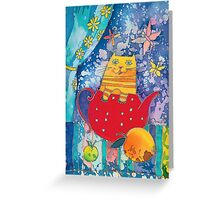 Cat in Red Teapot Greeting Card