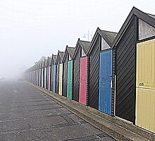 Beach Huts in the Fog. by Lilian Marshall