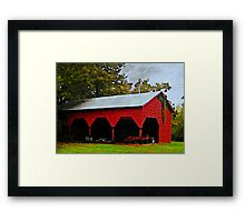 Red Shed - A Watercolor Framed Print