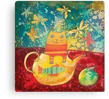 Cat in Yellow Teapot Canvas Print
