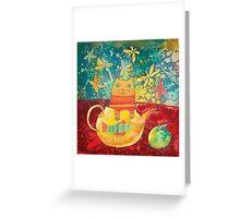 Cat in Yellow Teapot Greeting Card