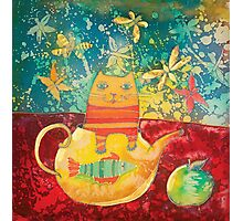 Cat in Yellow Teapot Photographic Print