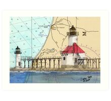 St Joseph Lighthouse Lake MI Chart Cathy Peek Art Print