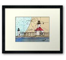 St Joseph Lighthouse Lake MI Chart Cathy Peek Framed Print