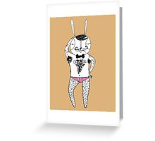 Sexy Bunny Toupee pose  Greeting Card