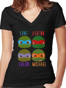 5 seconds of summer ninja turtles Women's Fitted V-Neck T-Shirt