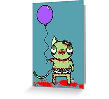 Birthday Zombie Cat with Balloon Greeting Card