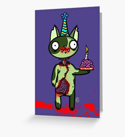 Zombie Birthday Cat with Brain Cake Greeting Card