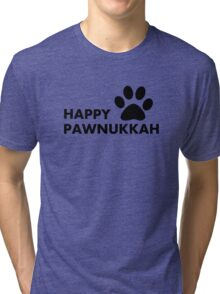 Hanukkah dog - happy paw - nukkah Tri-blend T-Shirt