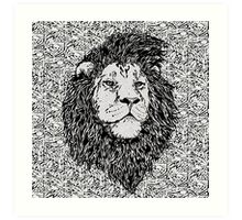 King of the Jungle, Lion in Black & White  Art Print
