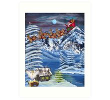 Wilderness Christmas Santa Art Print