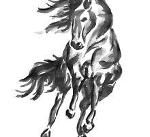 Sumi-e Horse by FarynHughes