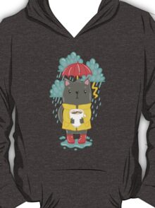 Cat, coffee and rain T-Shirt