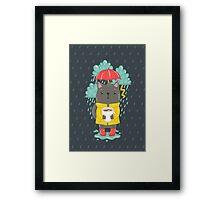 Cat, coffee and rain Framed Print