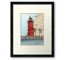 South Haven Lighthouse MI Nautical Map Cathy Peek Framed Print