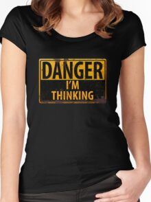 "Funny, ""DANGER, I'm Thinking"" Rusty Metal Sign - Yellow Black Rust Women's Fitted Scoop T-Shirt"