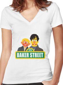 221B Baker Street - Sherlock Women's Fitted V-Neck T-Shirt