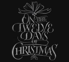 Chalkboard Lettering '12 Days of Christmas' Elegant Modern Chalk Carol One Piece - Long Sleeve