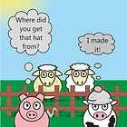 Funny Animals Woolly Hat Design Hilarious Rudy Pig & Moody Cow   by Samantha Harrison