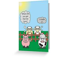 Funny Animals Woolly Hat Design Hilarious Rudy Pig & Moody Cow   Greeting Card