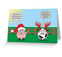 Funny Animals Christmas Design Hilarious Rudy Pig & Moody Cow   Greeting Card