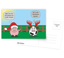 Funny Animals Christmas Design Hilarious Rudy Pig & Moody Cow   Postcards