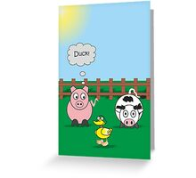 Funny Animals Duck Design Hilarious Rudy Pig & Moody Cow   Greeting Card