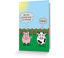 Funny Animals Moo Design Hilarious Rudy Pig & Moody Cow   Greeting Card