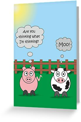 Funny Animals Moo Design Hilarious Rudy Pig & Moody Cow   by Samantha Harrison