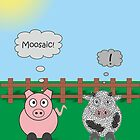 Funny Animals Moosiac Design Hilarious Rudy Pig & Moody Cow   by Samantha Harrison