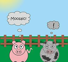 Funny Animals Moosiac Design Hilarious Rudy Pig & Moody Cow   by Catherine Roberts
