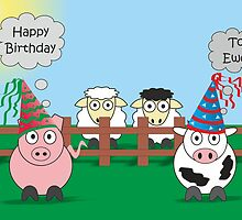 Funny Animals Birthday Design Hilarious Rudy Pig & Moody Cow   by Catherine Roberts