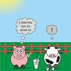 Funny Animals Milkshake Design Hilarious Rudy Pig & Moody Cow    by Catherine Roberts