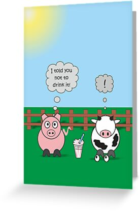 Funny Animals Milkshake Design Hilarious Rudy Pig & Moody Cow    by Samantha Harrison