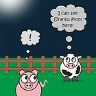 Funny Animals Uranus Design Hilarious Rudy Pig & Moody Cow    by Samantha Harrison