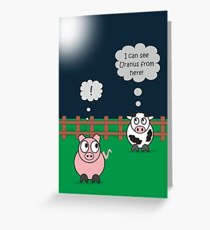 Funny Animals Uranus Design Hilarious Rudy Pig & Moody Cow    Greeting Card
