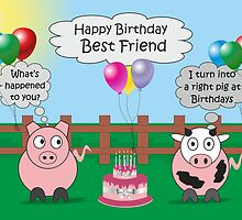 Funny Animals Best Friend Birthday Hilarious Rudy Pig & Moody Cow    by Samantha Harrison