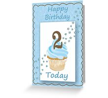 2 Today Blue Boys Card with Candle and Cake & Stars Greeting Card
