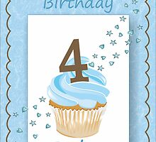 4 Today Blue Boys Card with Candle and Cake & Stars by Samantha Harrison