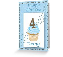 4 Today Blue Boys Card with Candle and Cake & Stars Greeting Card
