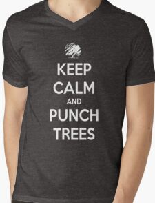 Keep calm and punch trees design. Mens V-Neck T-Shirt