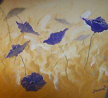 Violet Poppies by Raymond Doward