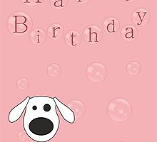 Bubbles the Cartoon Illustrated Dog - Happy Birthday Card by Samantha Harrison
