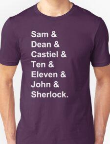 Superwholock Names. T-Shirt