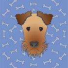 Airedale Terrier Cartoon Illustration on Blue Bones Background by Samantha Harrison