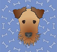 Airedale Terrier Cartoon Illustration on Blue Bones Background by Samantha Harrison