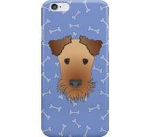 Airedale Terrier Cartoon Illustration on Blue Bones Background iPhone Case/Skin