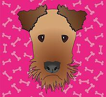 Airedale Terrier Cartoon Illustration on Pink Bones Background by Samantha Harrison